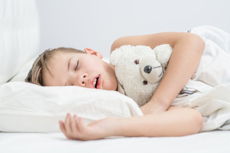 young child mouth breathing while sleeping