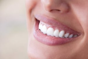 Closeup of beautiful smile after visiting Painesville dentist